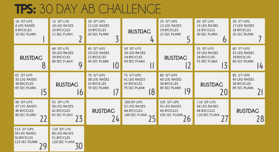 30 dagen workout challenge | tps